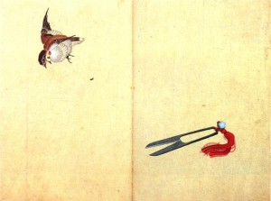 """A Pair of Scissors and A Sparrow"" Katsushika Hokusai"