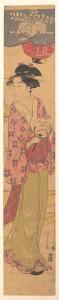 Девушка с веером. Чобунсай Эиши. 1780-ые
