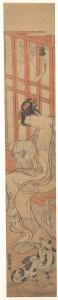 Женщина, обмахивающаяся после ванны Исода Корюсай. Кон. XVIII в. Эпоха Эдо.