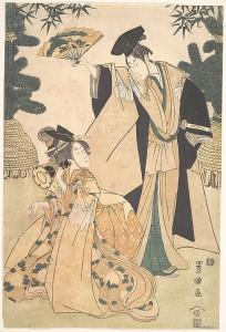 Девушка с барабаном и мужчина с веером, приветствующий ее. Кон. XVIII - нач. XIX вв.