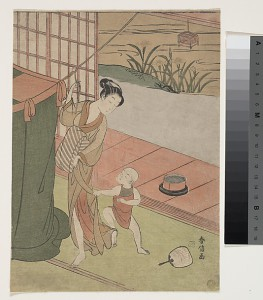 Мать и сын. Сузуки Харунобу. 1760-ые.