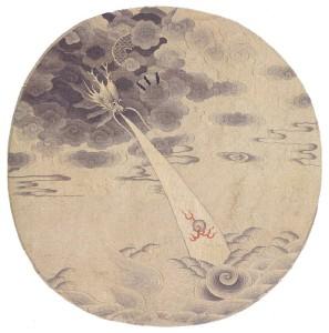 Веер с драконом. Вышивка по шелку. Династия Юань.