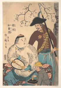 Русские и китаец, рисующий на веере 1860 г., Утагава Хирошиге (Япония)