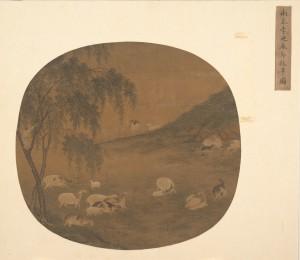 Овцепас и стадо. Чернила и краска на шелке. Поздняя Юань - ранняя Мин.